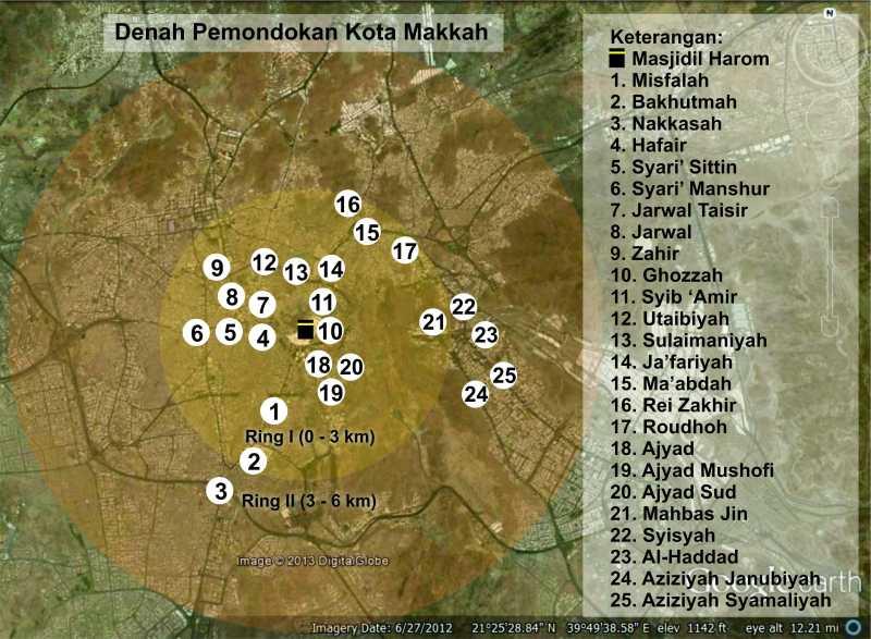 peta pemondokan haji indonesia